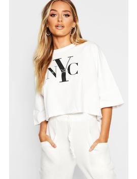 Nyc Slogan Batwing T Shirt by Boohoo