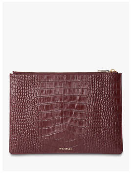 Whistles Shiny Croc Medium Clutch Bag, Plum by Whistles
