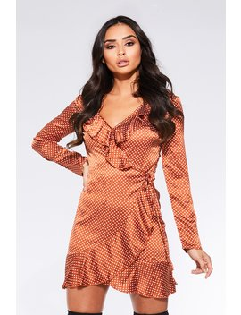 Towie Rust Satin Polkadot Wrap Long Sleeve Dress by Quiz