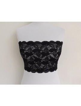 Black Elastic Lace Bandeau Top. Floral Lace Strapless. Lace Lingerie. Black Lingerie. Lace Tube Top. by Etsy