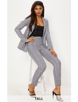 Tall Grey Checked Trousers by Prettylittlething
