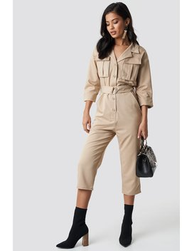 Front Pockets Belted Jumpsuit by Na Kd