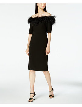 Faux Feather Off The Shoulder Dress by Calvin Klein