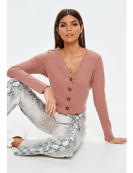 Rose Horn Button Lettuce Hem Crop Top by Missguided