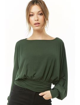 Dolman Sleeve Self Tie Top by Forever 21