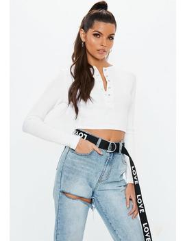 White Popper Front Ribbed Crop Top by Missguided