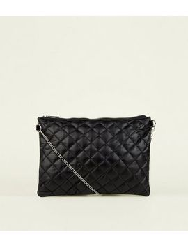Black Quilted And Faux Snake Cross Body Bag by New Look