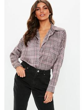Red Check Oversized Plunge Shirt by Missguided