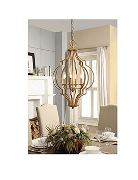 Traditional Gold Leaf Contemporary 4 Light Chandelier by Unknown