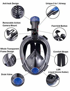Snorkeling Full Face Mask Foldable Easy Breathe Seaview 180 Newest Snorkel Set For Adults Kids by X Lounger