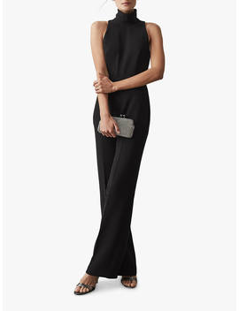 Reiss Dori High Neck Jumpsuit, Black by Reiss