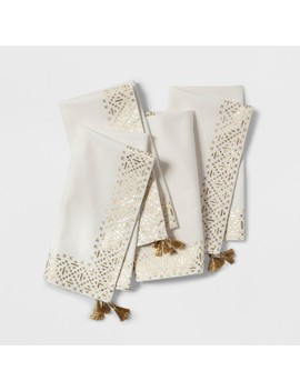 4pc Metallic Border Napkin Cream/Gold   Opalhouse™ by Opalhouse