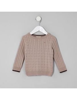 Mini Boys Pink Cable Knit Tipped Jumper by River Island