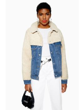 Hybrid Borg Denim Jacket by Topshop