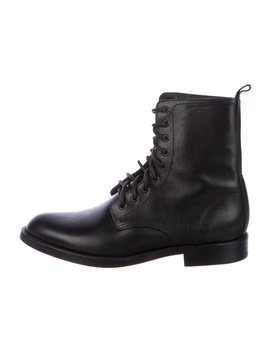 Leather Combat Boots by Saint Laurent