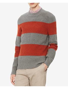 Men's Mock Neck Striped Sweater by Calvin Klein