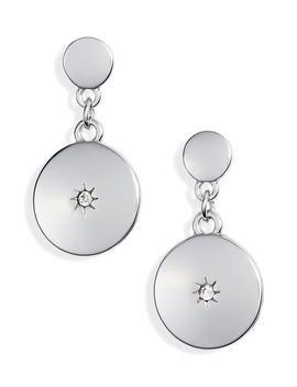 Inlaid Stone Disc Drop Earrings by Treasure & Bond