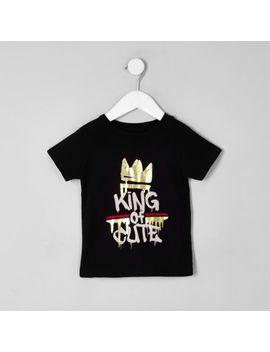 Mini Boys Black 'King Of Cute' T Shirt by River Island