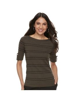 New Apt 9 Women's Shadow Stripe Ruched Sweater Olive Black Size Xs Msrp $40 by Apt. 9