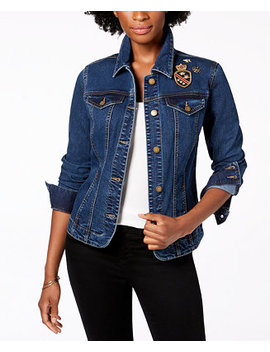 Embellished Patch Denim Jacket, Created For Macy's by Charter Club