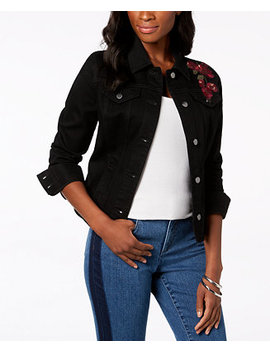 Floral Embroidered Denim Jacket, Created For Macy's by Charter Club