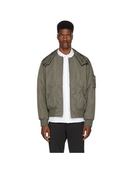 Grey Panel Neck Bomber Jacket by Helmut Lang