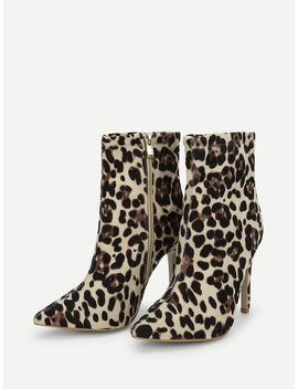 Leopard Print Point Tone Suede Boots by Sheinside