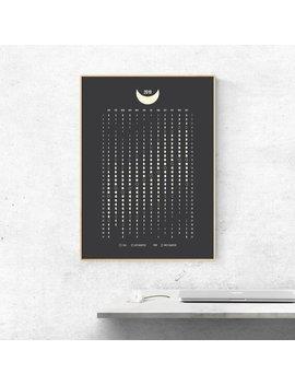 2019 Moon Phases Calendar Poster, Moon Calendar Poster, Moon Phases 2019, Moon Calendar 2019, Moon Phases, Moon Phases Art Print by Etsy