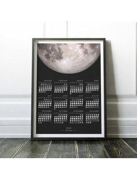2019 Monthly Lunar Calendar, Monthly Calendar Of 2019, 2019 Calendar, Moon Phase Calendar, Moon Calendar, Calendar Of 2019 by Etsy
