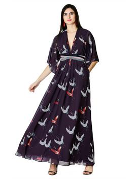 Plunge Flying Bird Print Georgette Maxi Dress by Eshakti