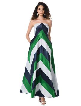 Chevron Stripe Strapless Dupioni Maxi Dress by Eshakti
