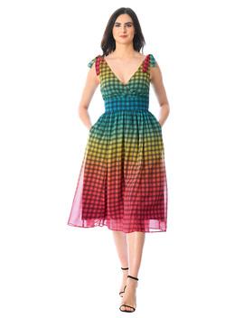 Shoulder Ties Surplice Ombre Check Georgette Dress by Eshakti