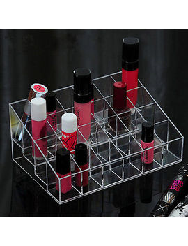 Clear Acrylic 24 Lipstick Holder Display Stand Cosmetic Organizer Makeup Case by Unbranded