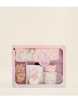 Pale Pink Unicorn Christmas Hamper Box by New Look