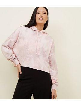 Pale Pink Tie Dye Crop Hoodie by New Look