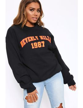 Black Beverly Hills 1987 Oversized Sweatshirt by I Saw It First