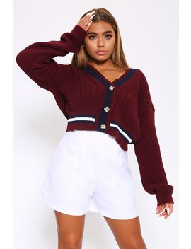 Burgundy Cricket Cardigan With White And Navy Stripe by I Saw It First