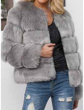 Gray Faux Fur Long Sleeve Chic Women Coat by Choies