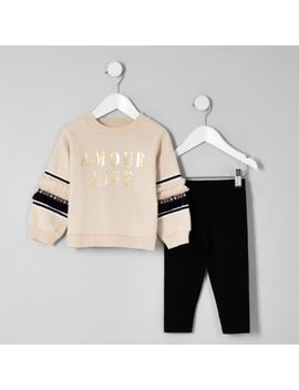Mini Girls Beige 'Amour' Sweatshirt Outfit by River Island