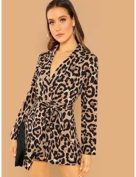 Knot Front Leopard Print Jumpsuit by Shein