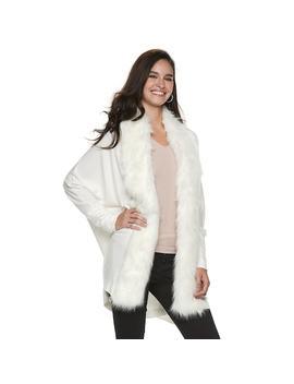 Women's Jennifer Lopez Faux Fur Trim Dolman Cardigan by Kohl's