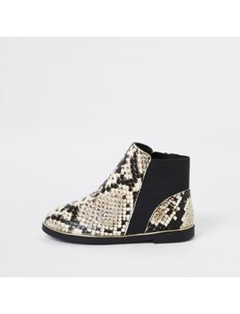 Mini Girls Brown Snake Skin Chelsea Boots by River Island
