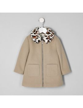 Mini Girls Brown Leopard Print Trim Coat by River Island