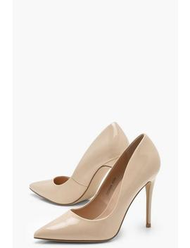 Patent Pointed Toe Court Shoes by Boohoo