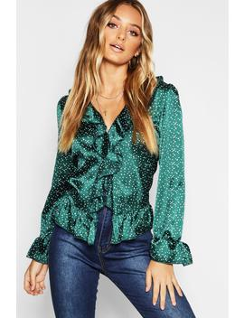 Spotty Satin Ruffle Front Blouse by Boohoo