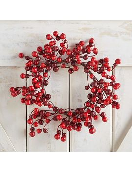 "14"" Mini Glittered Red Berry Wreath by Pier1 Imports"