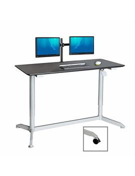 """Seville Classics Airlift Mobile Computer Workstation Gas Spring Pneumatic Sit Stand Desk, 54"""" X 23"""", Espresso by Seville Classics"""