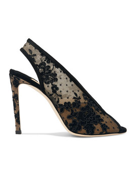 Shar 100 Suede Trimmed Lace Slingback Pumps by Jimmy Choo