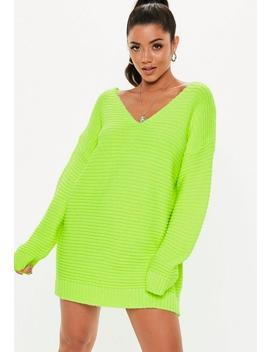 Lime V Neck Ribbed Knitted Jumper Dress by Missguided