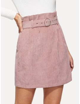 O Ring Belted Waist Corduroy Skirt by Shein
